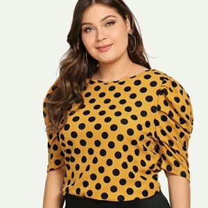 Tops - 💋🐝SALE🐝💋 Yellow with Black Polka Dot Blouse